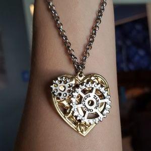 Tarina Tarantino steampunk heart necklace gold